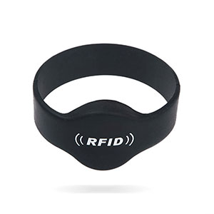 Black RFID Wristbands Waterproof Closed Type Silicone Bracelets