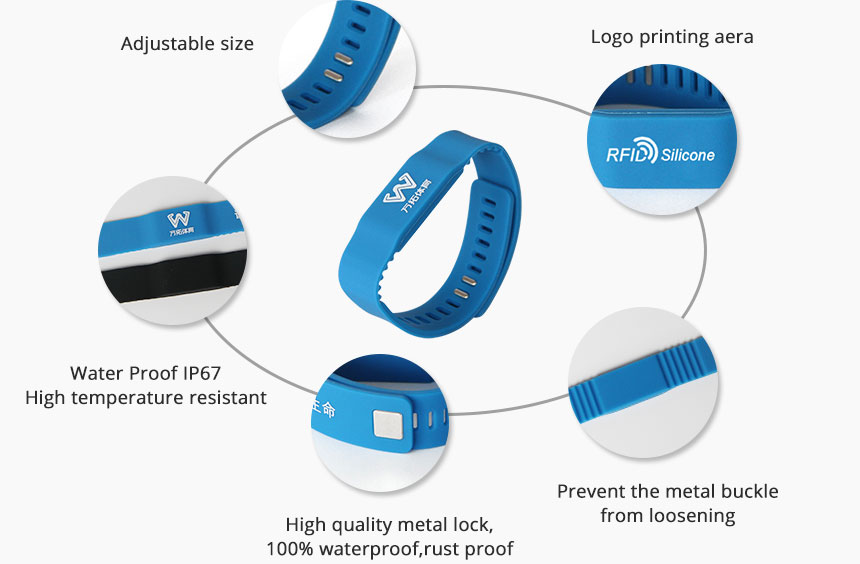 Custom 13.56MHz RFID Silicone Bracelets for GYM RS-AW021 Details