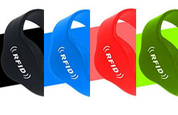 Black blue red and green silicone RFID wristbands
