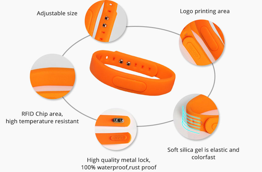 Adjustable Orange Silicone Bracelets UHF Wristband Tag Details RS-AW055