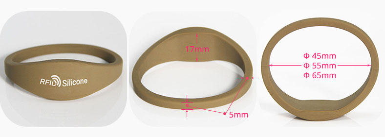 Brown RFID Silicone Wristband Bracelet Size RS-CW004