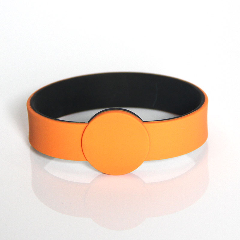 Double-layer Color Silicone RFID Chip Bracelet with Diameter 60mm