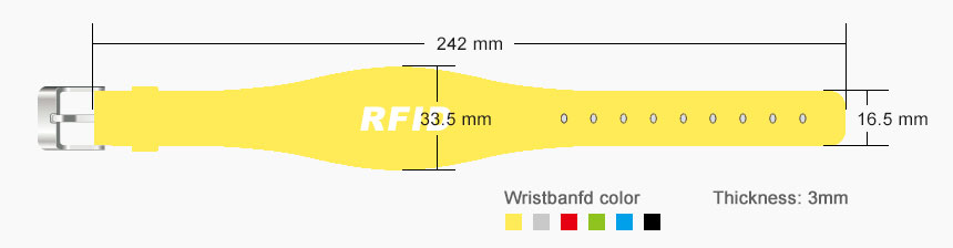 RFID Wristband Waterproof Silicone Bracelets RS-AW040 Size