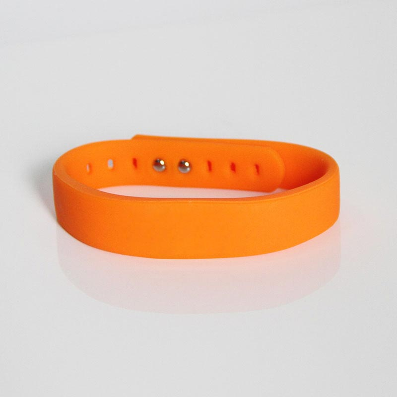 Wearable Orange Silicone Bracelets UHF RFID Wristband Tag