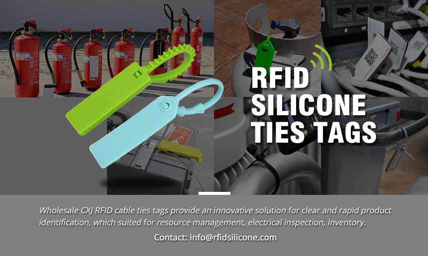 Reusable Rubber Cable Ties 13.56MHz Silicone RFID Tag