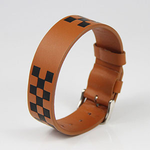 Customized Design Watch Style RFID Men's Brown Leather Bracelet