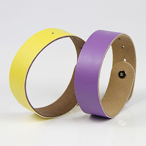 Customized Color LF/HF/UHF RFID Adjustable Leather Bracelet